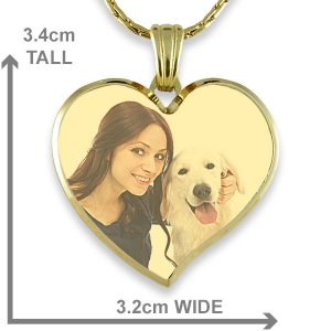 Gold Plate Deluxe Bevelled Curved Large Heart Colour Photo Pendant