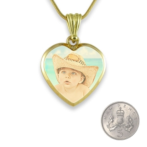 Gold Plate Deluxe Bevelled printed colour Photo Pendant