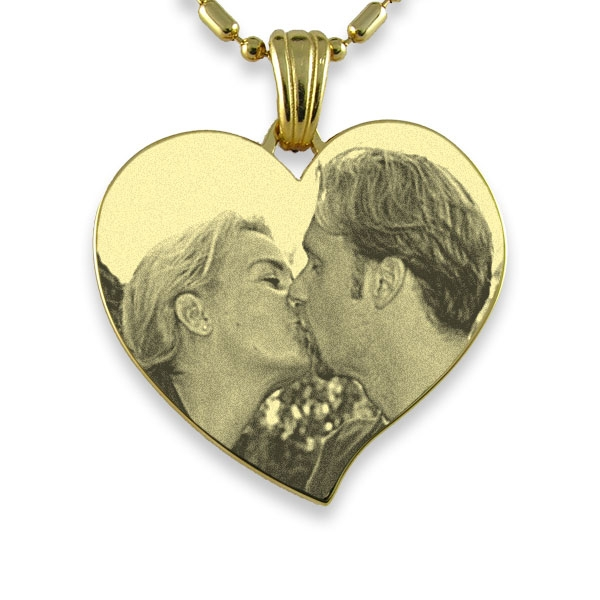 Gold Plate Large Curved Heart Photo Pendant