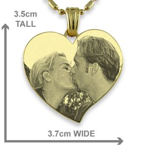 Dimensions of Gold Plate Large Curved Heart Photo Pendant
