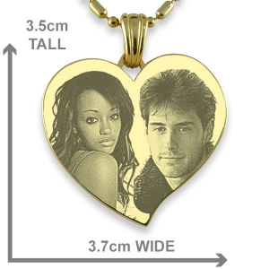Dimensions of Gold Plate Large Curved Heart Photo Merged Pendant