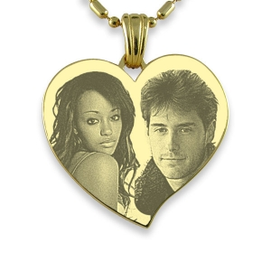 Photo Engraved Face Gold Plate Large Curved Heart Photo Merged Pendant