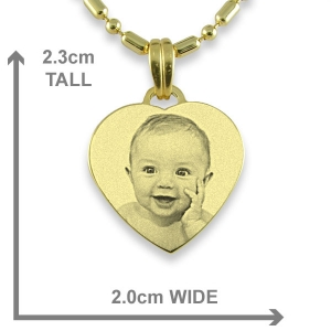 Dimensions of Gold Plated Small Heart Photo Pendant