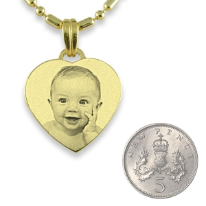 5p Scale of Gold Plated Small Heart Photo Pendant