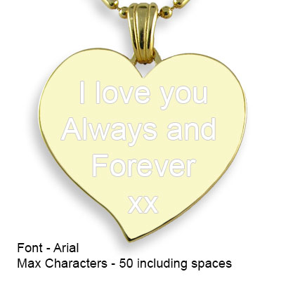 Engravable Back of Gold Plate Large Curved Heart Photo Pendant