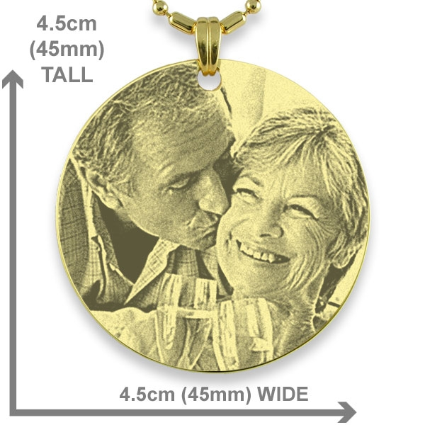 Dimensions of Gold Plated Medallion Photo Pendant