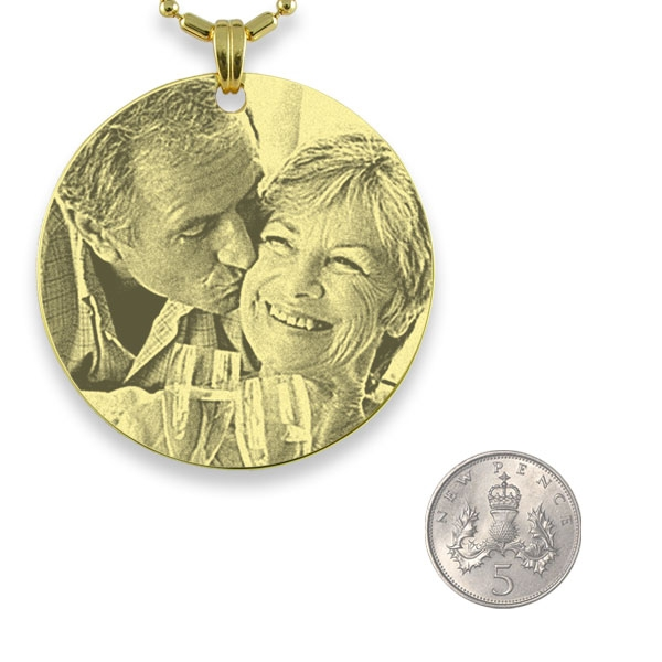 5p Scale of Gold Plated Medallion Photo Pendant