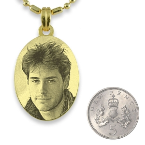 5p Scale of Gold Plated 925 Silver Medium Oval Photo Pendant