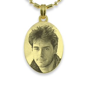 Gold Medium Oval Photo Pendant