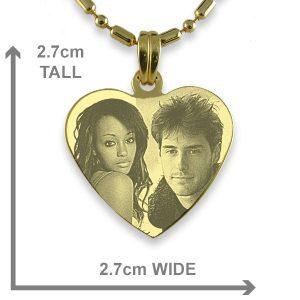 Dimensions of Medium Heart Photo Merged Pendant