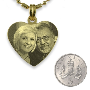 5p Scale of Gold Plated Medium Heart Photo Pendant