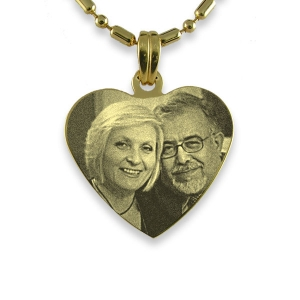 Gold Plated Silver Medium Heart Photo Pendant