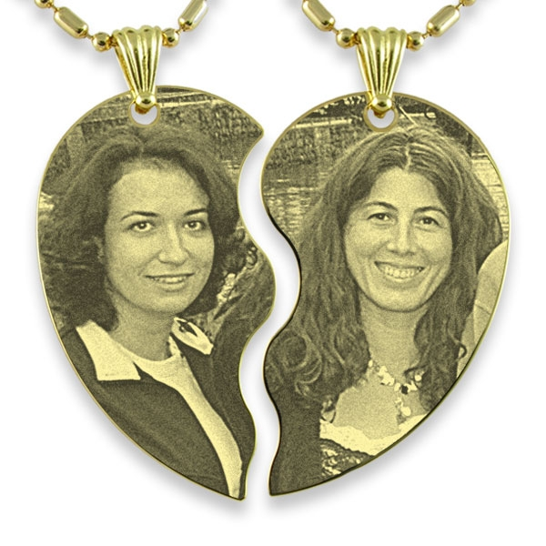 Example of Gold Plated Slim Friendship Heart Photo Engraved Pendant