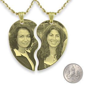 Gold Plated Slim Friendship Heart Photo Engraved Pendant with 5p scale