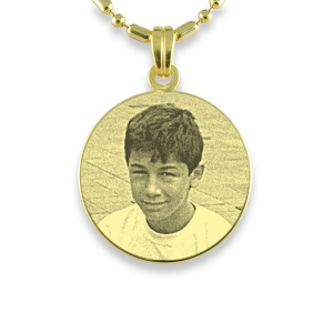 Gold Plated 925 Silver Medium Round Photo Pendant