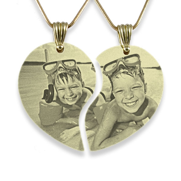Wide Friendship Heart Photo Engraved Pendant