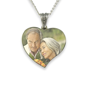 Rhodium Plated Medium Curved Heart Colour Printed Photo Pendant