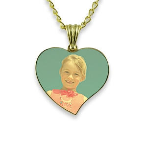 Gold Plated Medium Curved Colour Heart Photo Pendant