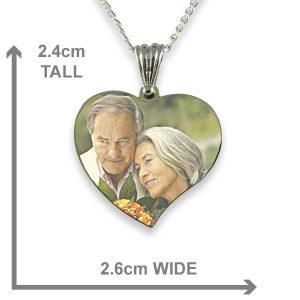 Dimensions Rhodium Plated Medium Curved Heart Colour Printed Photo Pendant