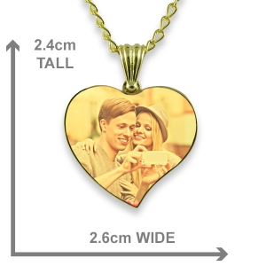 Dimensions Gold Plated Medium Curved Colour Heart Photo Pendant