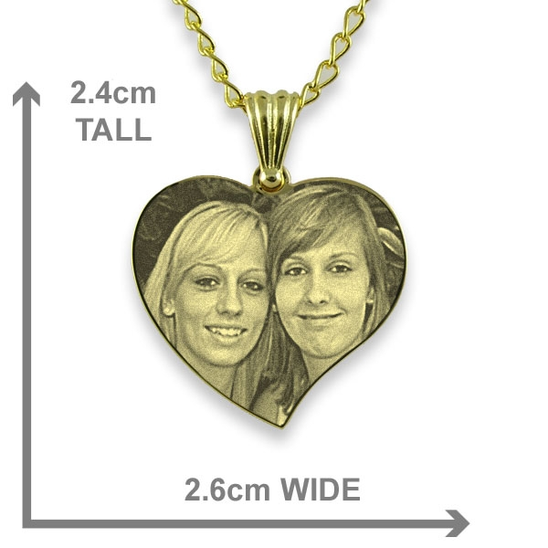 Dimensions of Gold Plated Medium Curved Heart Photo Pendant