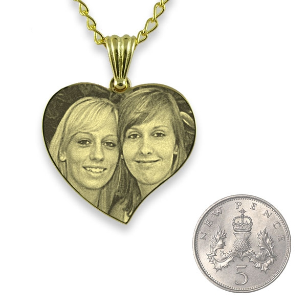 5p Scale of Gold Plated Medium Curved Heart Photo Pendant