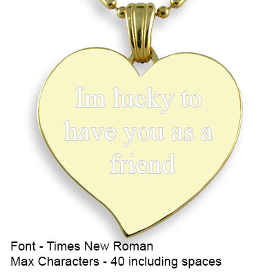 Engravable Back of Gold Plated Medium Curved Heart Photo Pendant