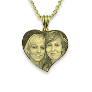 Gold Plate Medium Curved Heart Photo Pendant