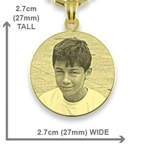 Dimensions of Gold Plated Medium Round Photo Pendant