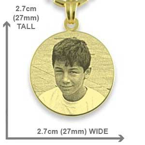 Dimensions of Gold Plated 925 Silver Medium Round Photo Pendant