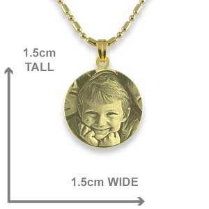 Dimensions of Gold Plated 925 Silver Mini Round Pendant
