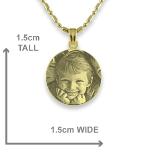 Dimensions of Gold Plated Mini Round Photo Pendant