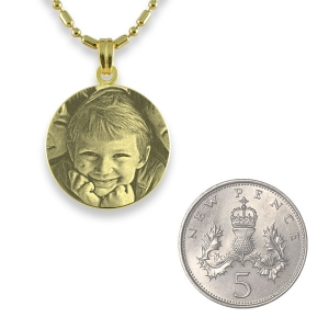 5p Scale of Gold Plated Mini Round Photo Pendant