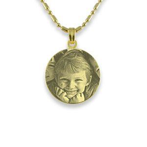Gold Plated Mini Round Photo Pendant