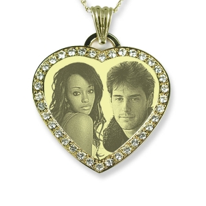 Engraved face Gold Plate Diamante Heart Merged Photo Pendant