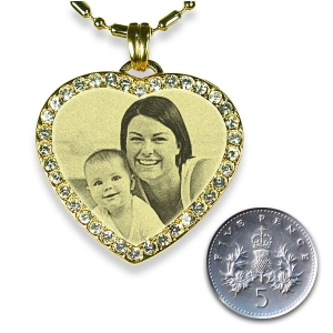 5p Scale Gold Plate Diamante Heart Merged Photo Pendant