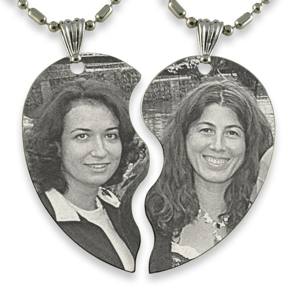 Example of Slim Friendship Heart Photo Engraved Pendant