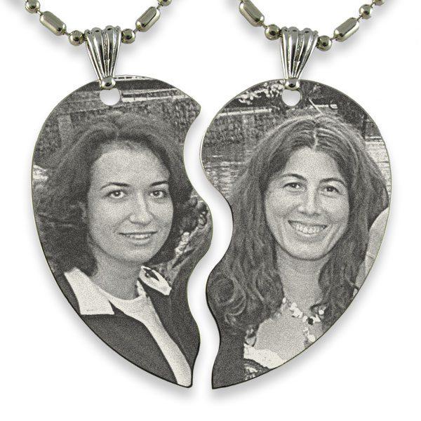 Example of Slim Friendship Heart Photo Engraved Pendant