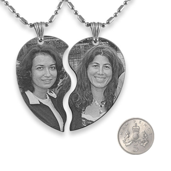 Slim Friendship Heart Photo Engraved Pendant with 5p scale