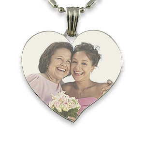 Rhodium Plate Large Curved Heart
