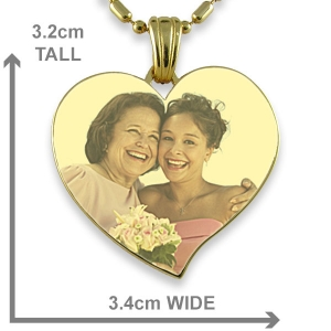 Gold Large Heart Colour Photo Pendant
