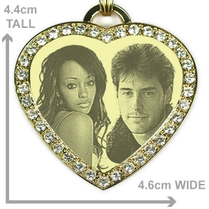 Dimensions of Large diamante gold plate heart photo merged pendant