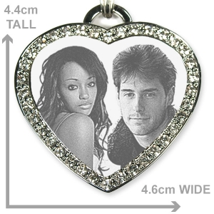 Dimensions of Large Diamante Heart Merged Photo Pendant