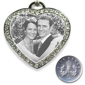 5p Scale Large Diamante Heart Merged Photo Pendant
