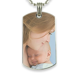 Rhodium Plate Large Dog Tag Colour Photo Pendant