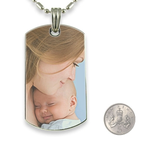5p scale Rhodium Plate Large Dog Tag Colour Photo Pendant