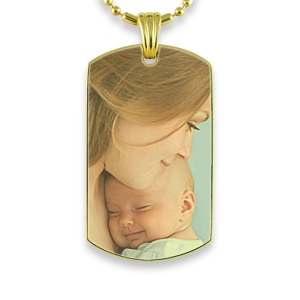Gold Plate Large ID-Tag Colour Photo Pendant