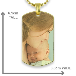Dimensions Gold Plate Large ID-Tag Colour Photo Pendant