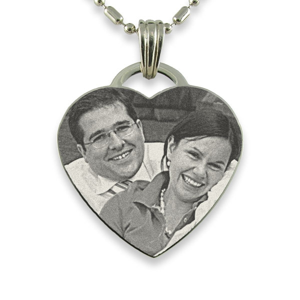 Rhodium Plate Drop Heart Photo Pendant