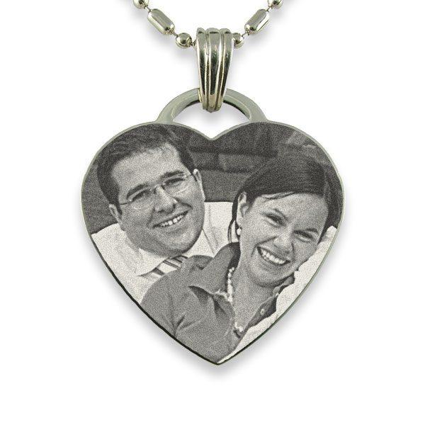 Rhodium Plate Drop Heart Photo Pendant